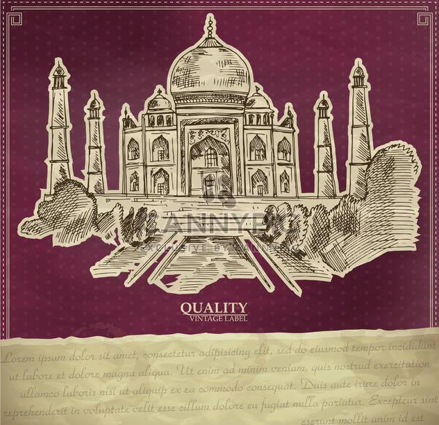 vintage style label with indian taj mahal - Free vector #135174