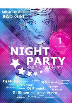 night party design poster with fashion girl - vector gratuit #135194
