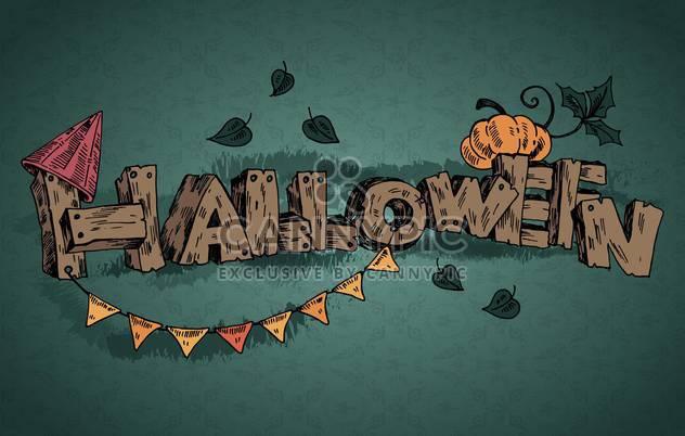Halloween-Urlaub-Inschrift auf dunklem Grün Hintergrund - Kostenloses vector #135254