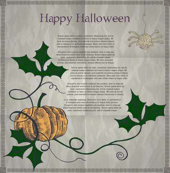 Halloween holiday card with pumpkin - vector #135284 gratis