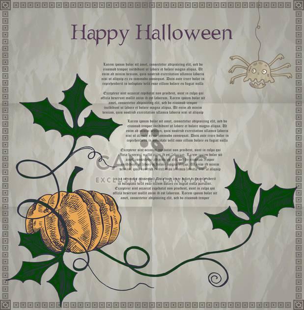 Halloween holiday card with pumpkin - Free vector #135284