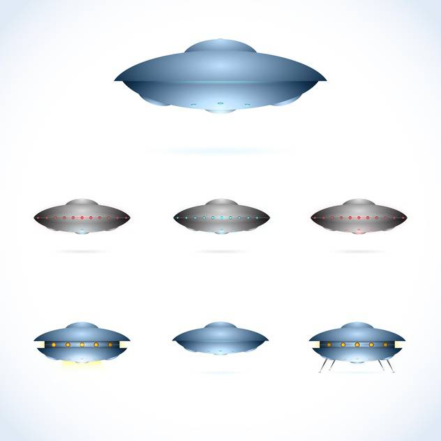 Vector illustration of space collection with flying saucers on white background - Kostenloses vector #125724