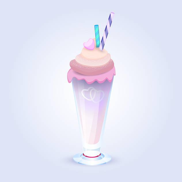Vector illustration of sweet berry milkshake with straws in glass on blue background - Free vector #125734