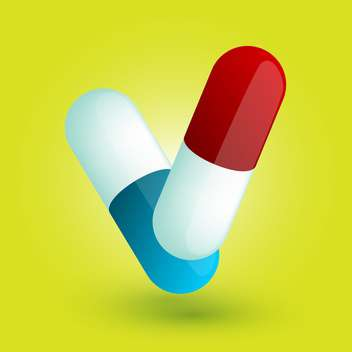 Vector illustration of two colorful pills on yellow background - бесплатный vector #125744