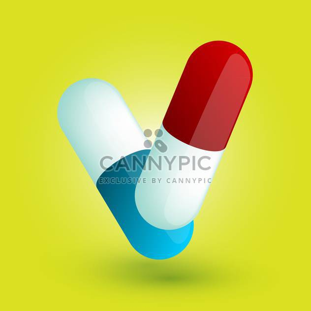 Vector illustration of two colorful pills on yellow background - Free vector #125744