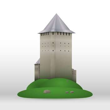 Vector illustration of old castle on green hill on white background - Free vector #125814