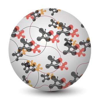 Vector illustration of abstract round sphere with molecules on white background - Free vector #125864