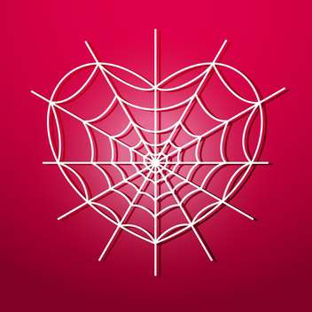 Vector illustration of white heart shape spider web on red background - Free vector #125884