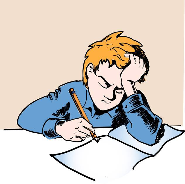 colorful illustration of sad schoolboy doing homework - бесплатный vector #125894