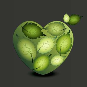 Heart made of green leaves on grey background - vector gratuit #125924