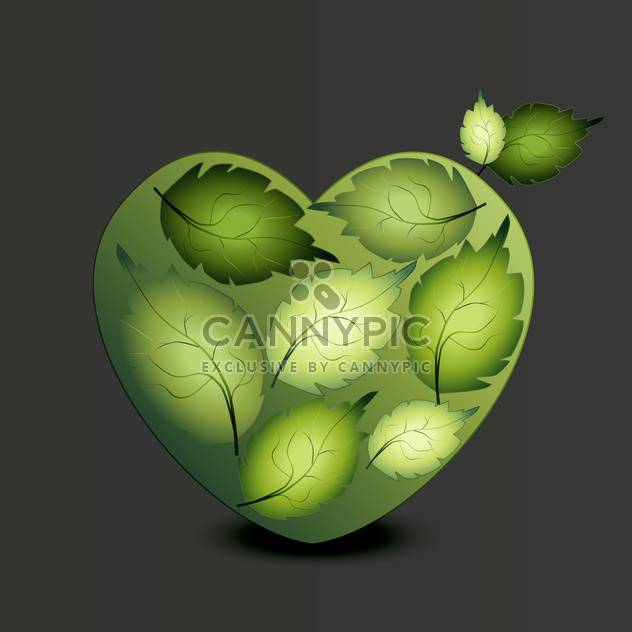 Heart made of green leaves on grey background - Free vector #125924