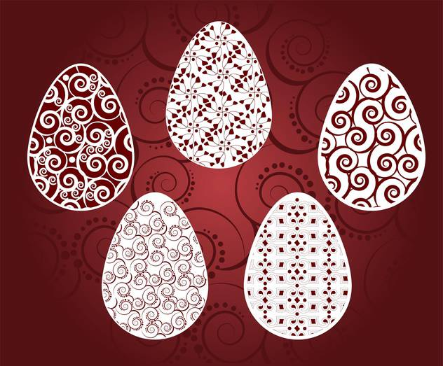Vector holiday background of easter eggs with floral pattern - vector gratuit #125954