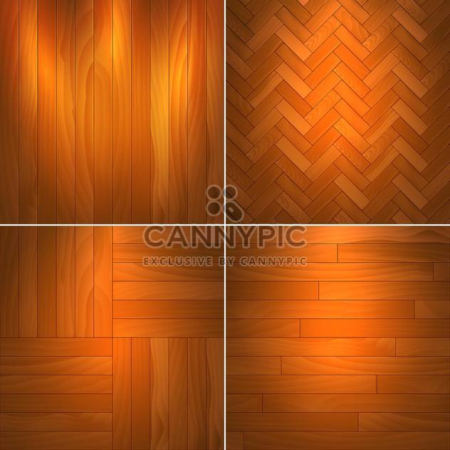 Vector illustration set of brown wooden textures - Free vector #126044