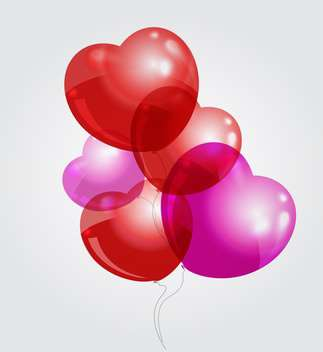 Vector illustration of red and pink heart shaped balloons on grey background - vector gratuit #126094