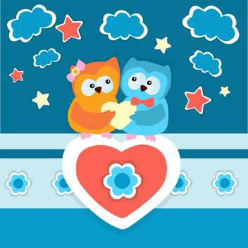 Vector dark blue background with two owls in love with hearts and clouds - бесплатный vector #126154