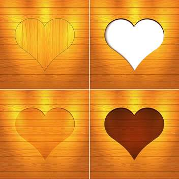 Vector illustration of hearts on brown wooden background with text place - vector gratuit #126184