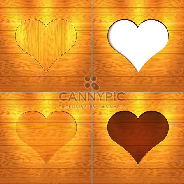 Vector illustration of hearts on brown wooden background with text place - Free vector #126184