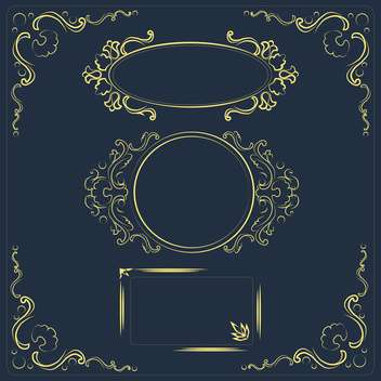 Vector illustration set of design floral elements on dark background - Free vector #126204