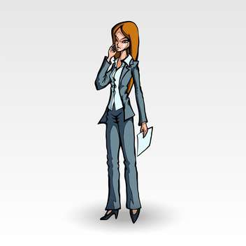 Vector illustration of cartoon businesswoman with phone in hand on white background - Free vector #126214