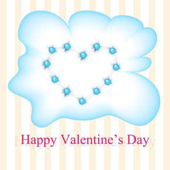 Vector greeting card for Valentine's day with blue heart in cloud - vector gratuit #126224