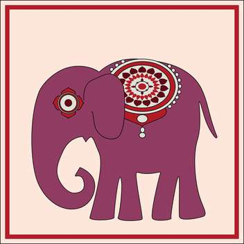 Vector background with exotic huge elephant with floral ornament on pink background - vector #126234 gratis
