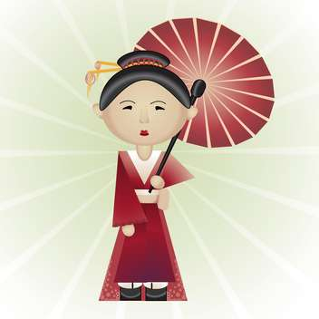 Vector illustration of beautiful geisha with umbrella in hand on white background - Free vector #126254