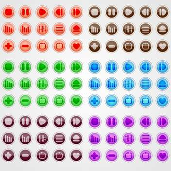 Vector set of colorful web buttons on white background - vector gratuit #126294