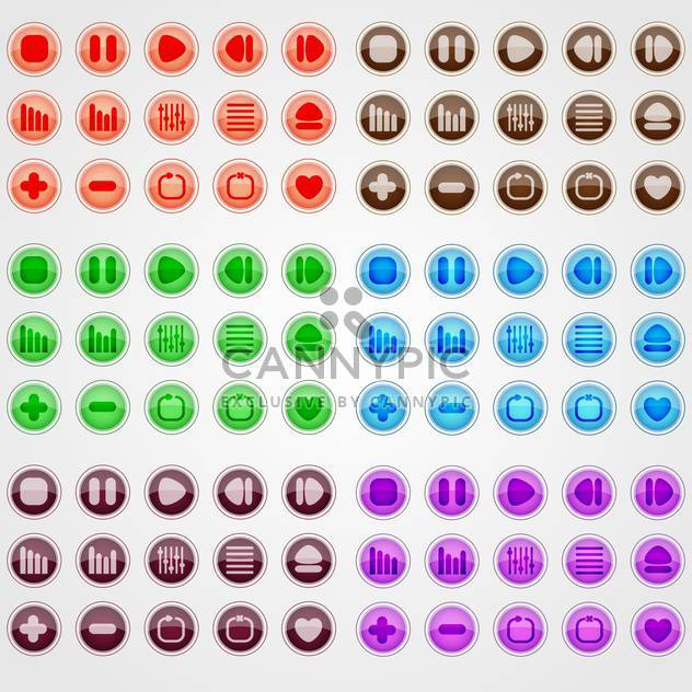 Vector set of colorful web buttons on white background - Free vector #126294