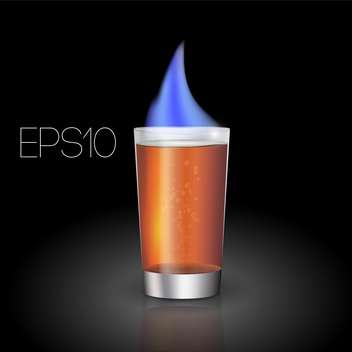 Vector illustration of hot shot cocktail with flame on black background - vector gratuit #126344