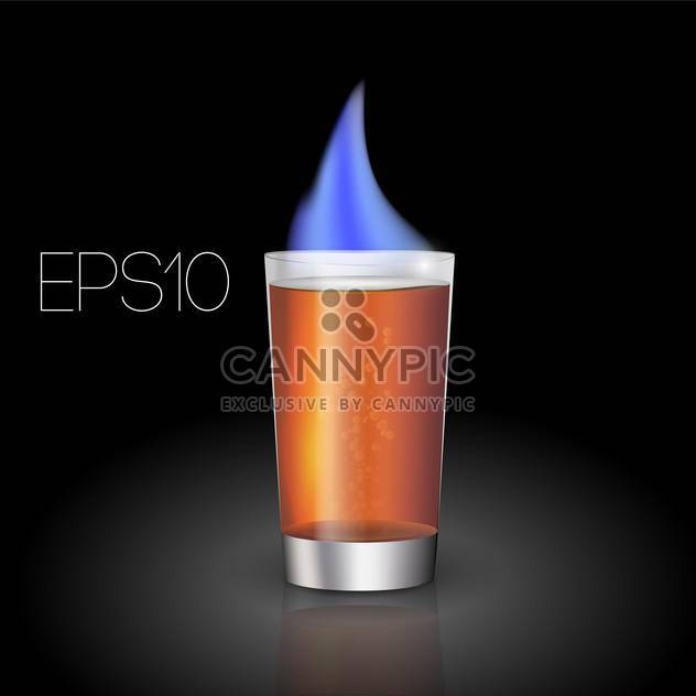 Vector illustration of hot shot cocktail with flame on black background - Free vector #126344
