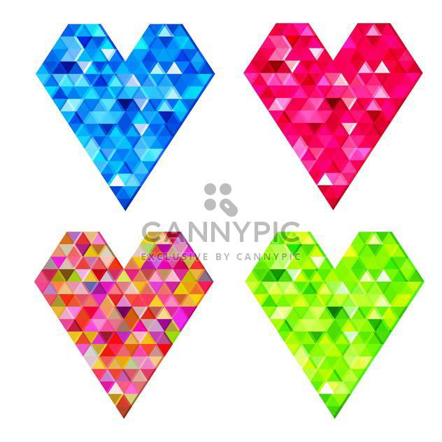 Vector set of mosaic love hearts on white background - Free vector #126354