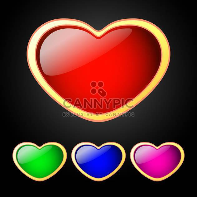 Vector illustration set of colored hearts on black background - Free vector #126404