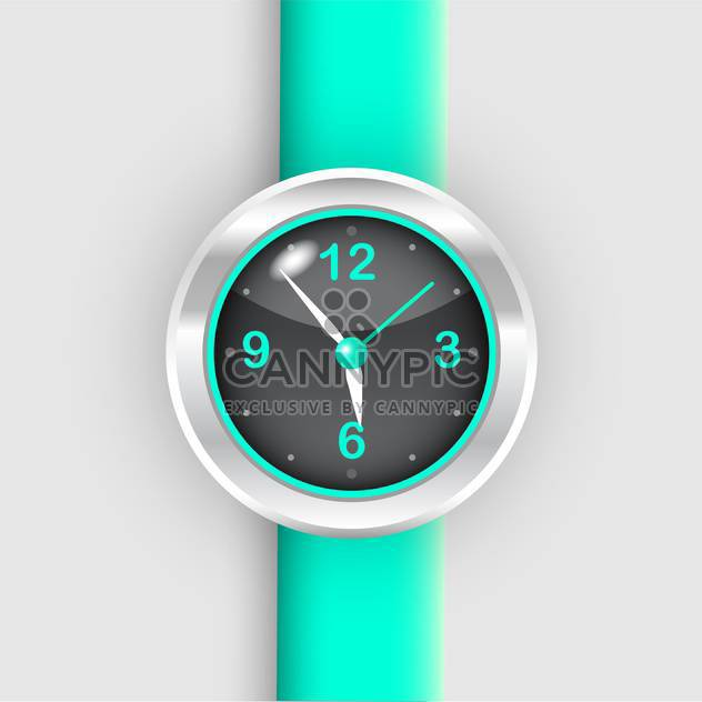 Vector illustration of wristwatch with green bracelet on white background - Free vector #126464