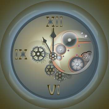 Vector illustration of old clock with mechanism on grey background - Free vector #126494