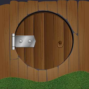 colorful illustration of wooden fence with round door - vector gratuit #126504