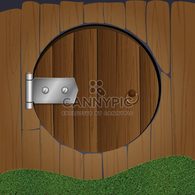 colorful illustration of wooden fence with round door - Free vector #126504