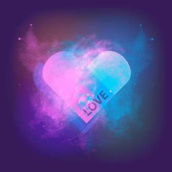 Vector space blue background with love heart - vector gratuit #126524
