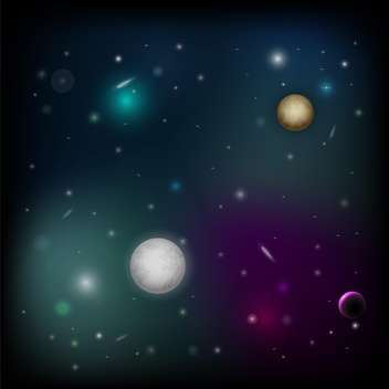 vector illustration of space background with planets - vector gratuit #126534