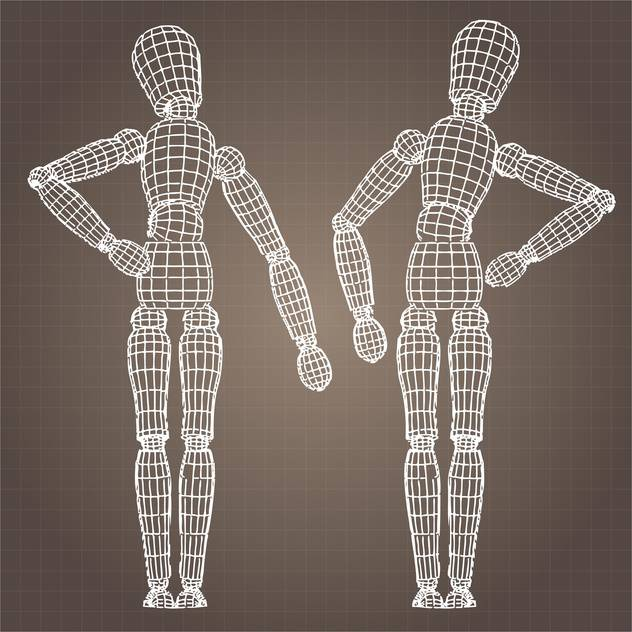 Vector model of human body on brown background - бесплатный vector #126554