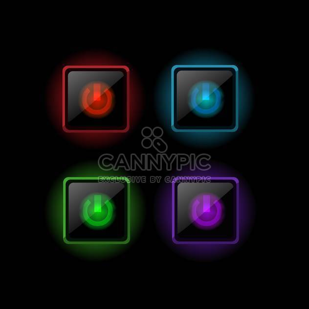 Vector set of power colorful buttons on black background - Free vector #126584