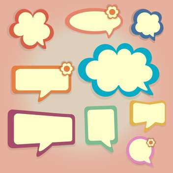 Vector set of colored speech bubbles on pink background - vector gratuit #126594