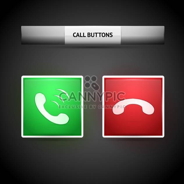 Vector illustration of call web buttons on dark grey background - Free vector #126634