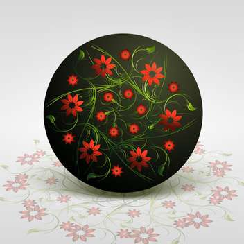Vector illustration of floral background with red flowers in circle - vector gratuit #126664