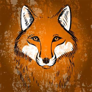 Vector illustration of wild red fox face - Free vector #126704
