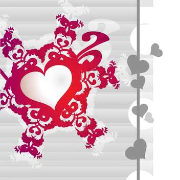 Vector white background with red floral art heart - vector gratuit #126734