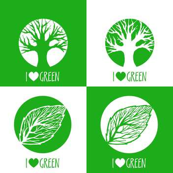 Vector ecology signs with i love green text and green leaves and trees - vector gratuit #126764