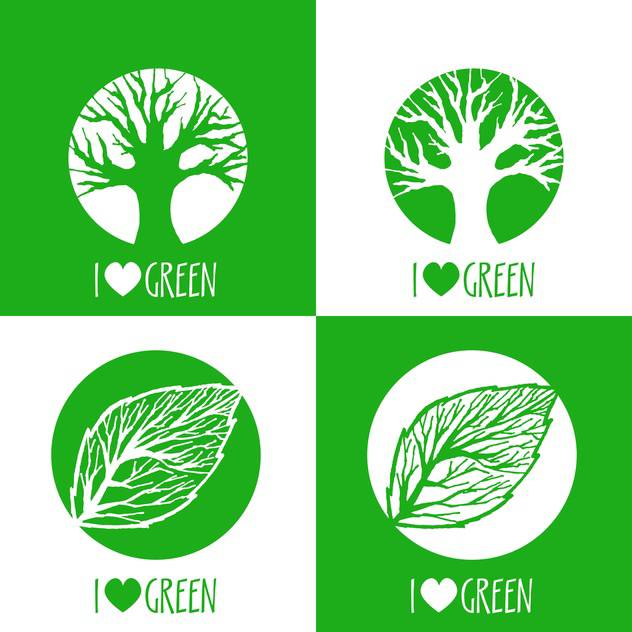 Vector ecology signs with i love green text and green leaves and trees - vector #126764 gratis