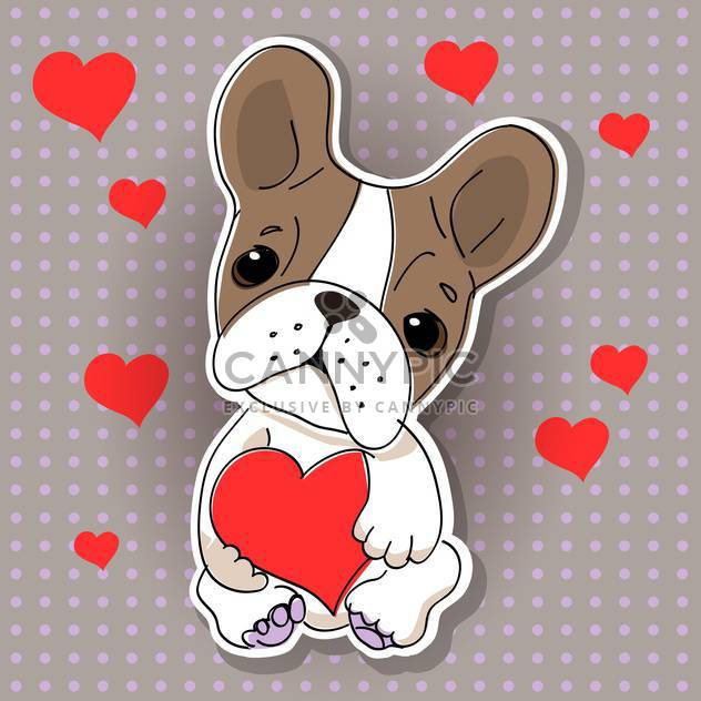 Vector illustration of cute dog in love on grey background with red hearts - Free vector #126834