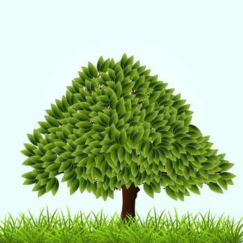 Vector illustration of green tree and grass on blue background - vector gratuit #126864