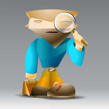 vector illustration of cartoon man with magnifying glass in hand - vector gratuit #126914